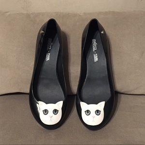 Melissa + Karl Lagerfeld Cat Flats sz 6